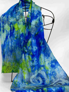 Silk Scarf Blue Tit Celtic