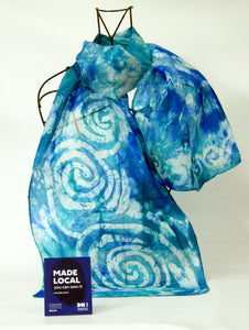 Silk Scarf Celtic Aqua Blue Teal