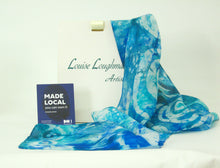 Load image into Gallery viewer, Silk Scarf Celtic Aqua Blue Teal