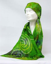 Load image into Gallery viewer, Silk Scarf Green Finch Celtic