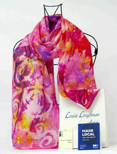 Silk Scarf PInk and Golden Yellow Celtic
