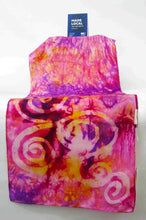 Load image into Gallery viewer, Silk Scarf PInk and Golden Yellow Celtic