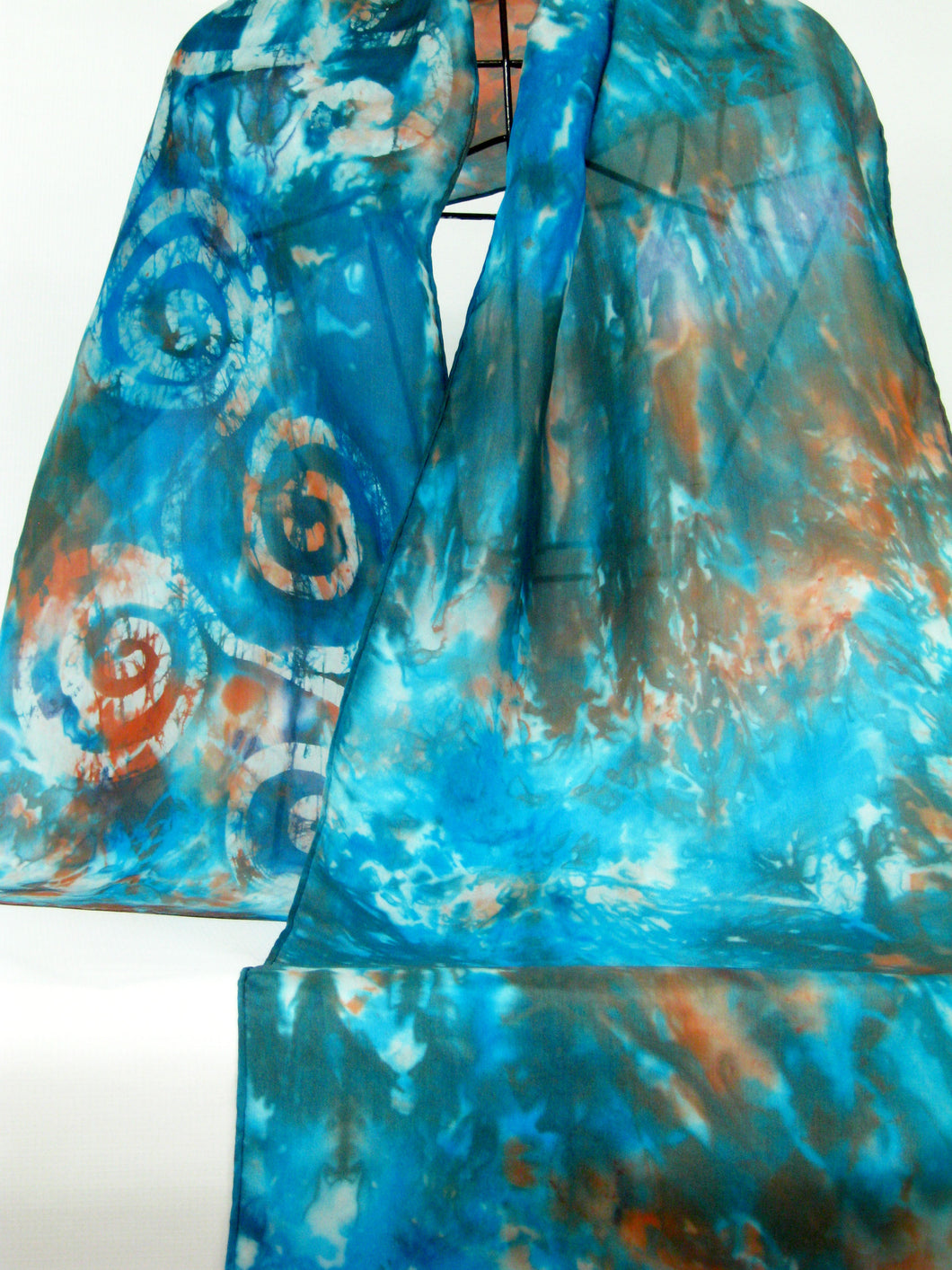 Silk Scarf Celtic Teal Copper