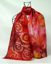 Load image into Gallery viewer, Silk Scarf Celtic Fire Cranberry