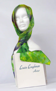 Silk Satin Neck Scarf The Green Finch Colour Celtic