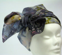 Load image into Gallery viewer, Silk Scarf Celtic Long Tail Tit Pewter