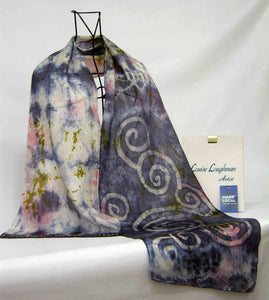 Silk Scarf Celtic Long Tail Tit Pewter