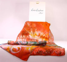 Load image into Gallery viewer, Silk Scarf Orange Forrest Garden