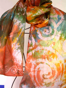 Silk Scarf Orange Forrest Garden