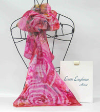 Load image into Gallery viewer, Silk Scarf Spirals in Pink Sunshine