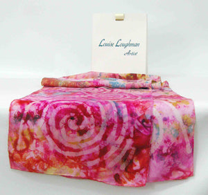 Silk Scarf Spirals in Pink Sunshine
