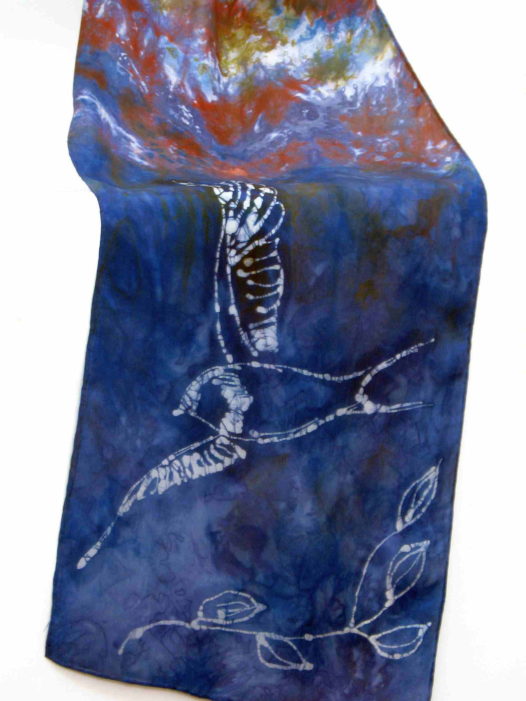 Hand Painted Silk Scarf The Swallow