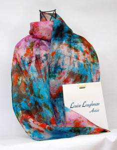 Silk Scarf Abstract in Turquoise Pink and Orange