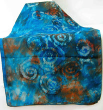 Load image into Gallery viewer, Large Silk Shawl Teal Rust Celtic