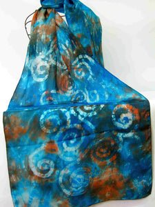 Large Silk Shawl Teal Rust Celtic
