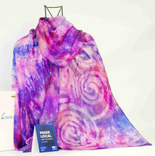 Load image into Gallery viewer, A Large Silk Shawl Pink Lilac Celtic