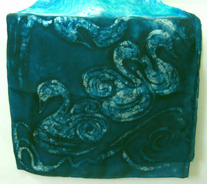 Large Silk Shawl Dark Green Swans