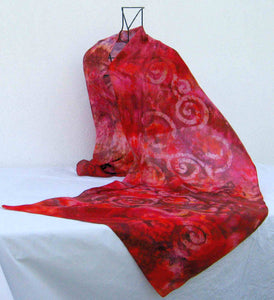 Large Silk Shawl Red Rusty Celtic