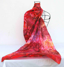 Load image into Gallery viewer, Large Silk Shawl Red Rusty Celtic