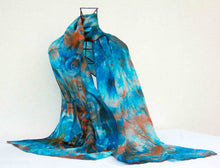 Load image into Gallery viewer, Large Silk Shawl Turquoise Teal  Celtic Rust