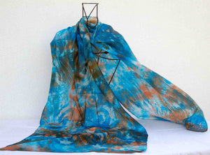 Large Silk Shawl Turquoise Teal  Celtic Rust