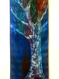 Silk Wall Hanging The Dark Blue Tree of LIfe