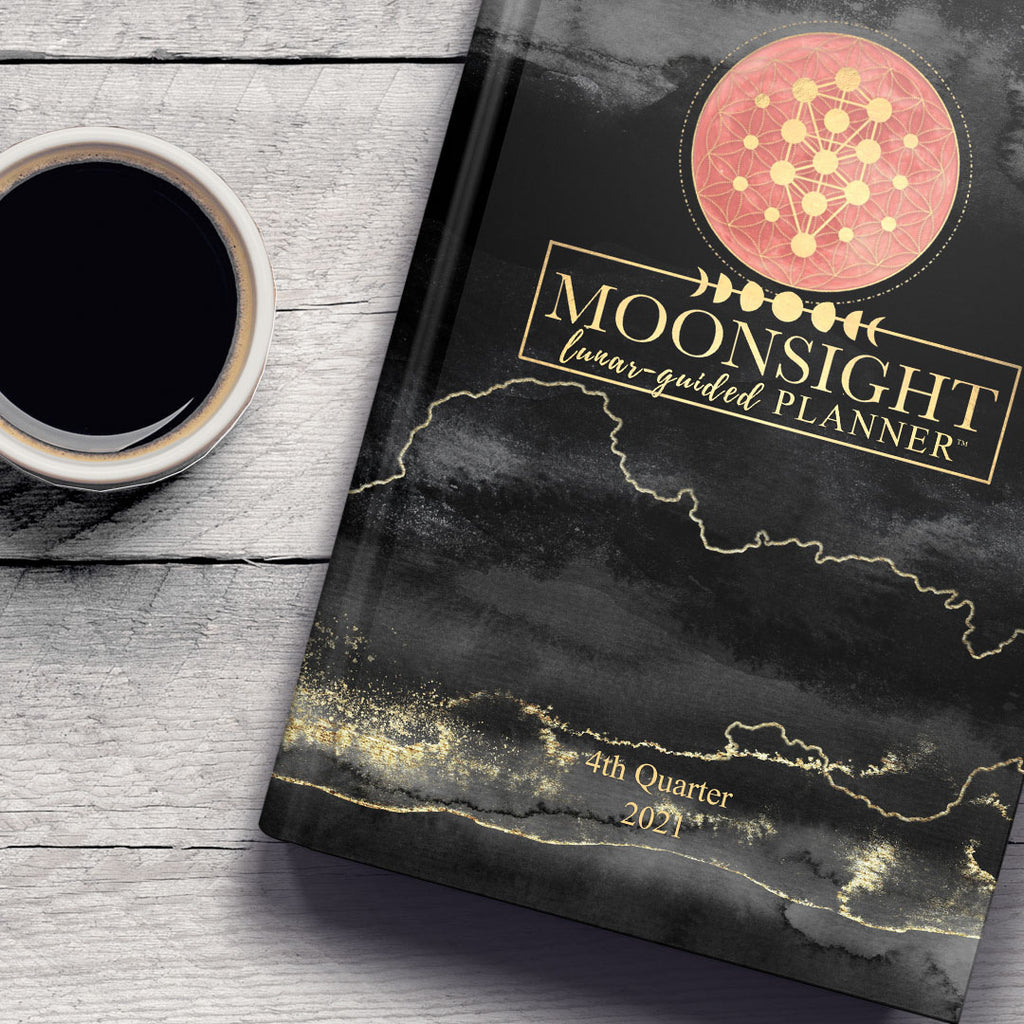 Q4 2021 Black & Gold - 90-Day Moon Phase Daily Planner Oct.-Dec. 2021 (Softcover)