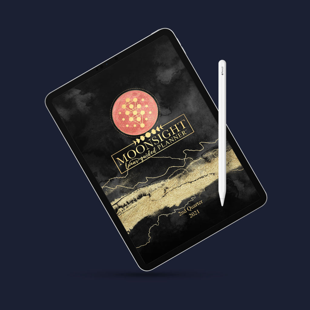 Q2 2021 Midnight Black & Gold - 90-Day DIGITAL Moon Phase Daily Planner April-June 2021 Good Notes PDF