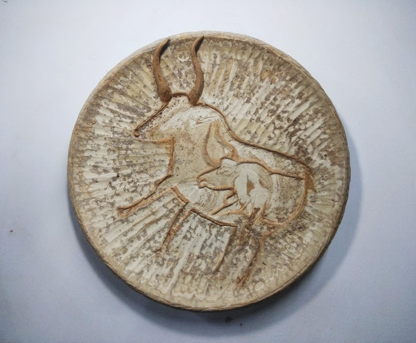 Ceramic Plate , Prehistorical Buffalo