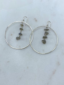Sterling hoop earrings with labradorite