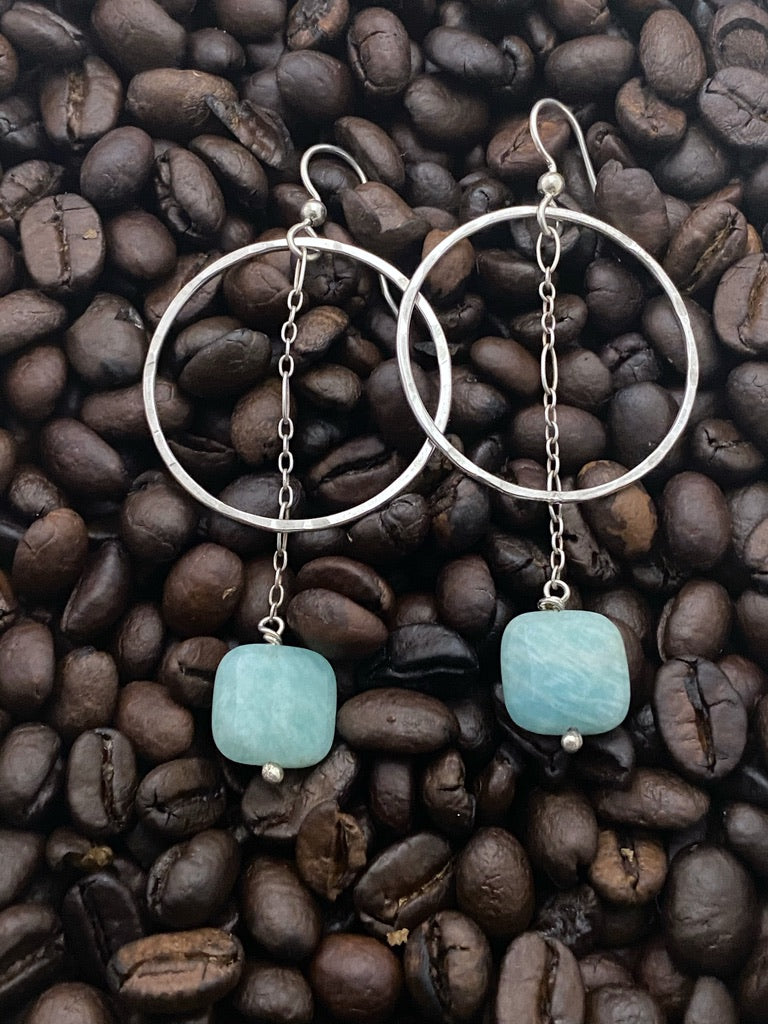 Sterling Silver forged hoop earrings with amazonite