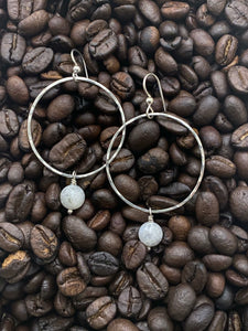 Sterling silver forged hoop earrings with moonstone