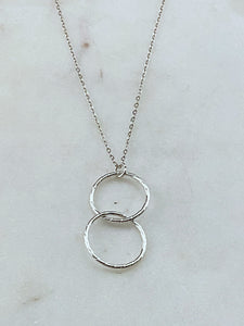 Sterling silver twisted and forged double hoop necklace
