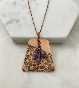 Amethyst and copper necklace