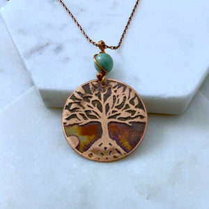 Tree necklace, copper with amazonite gemstone