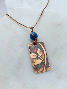 Leaf necklace copper with apatite