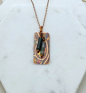Moss agate and copper necklace