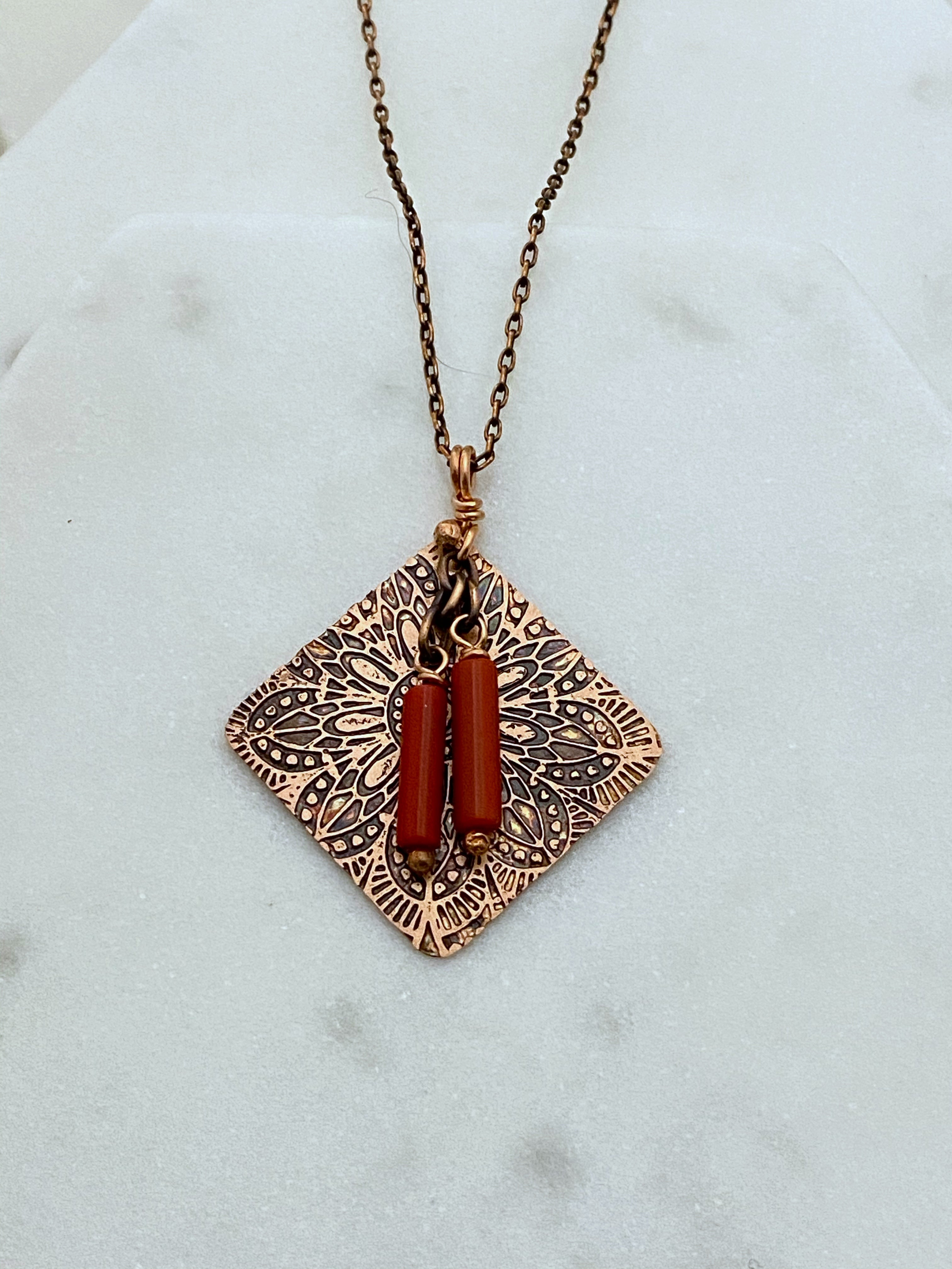 Coral and copper necklace