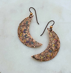 Moon copper earrings
