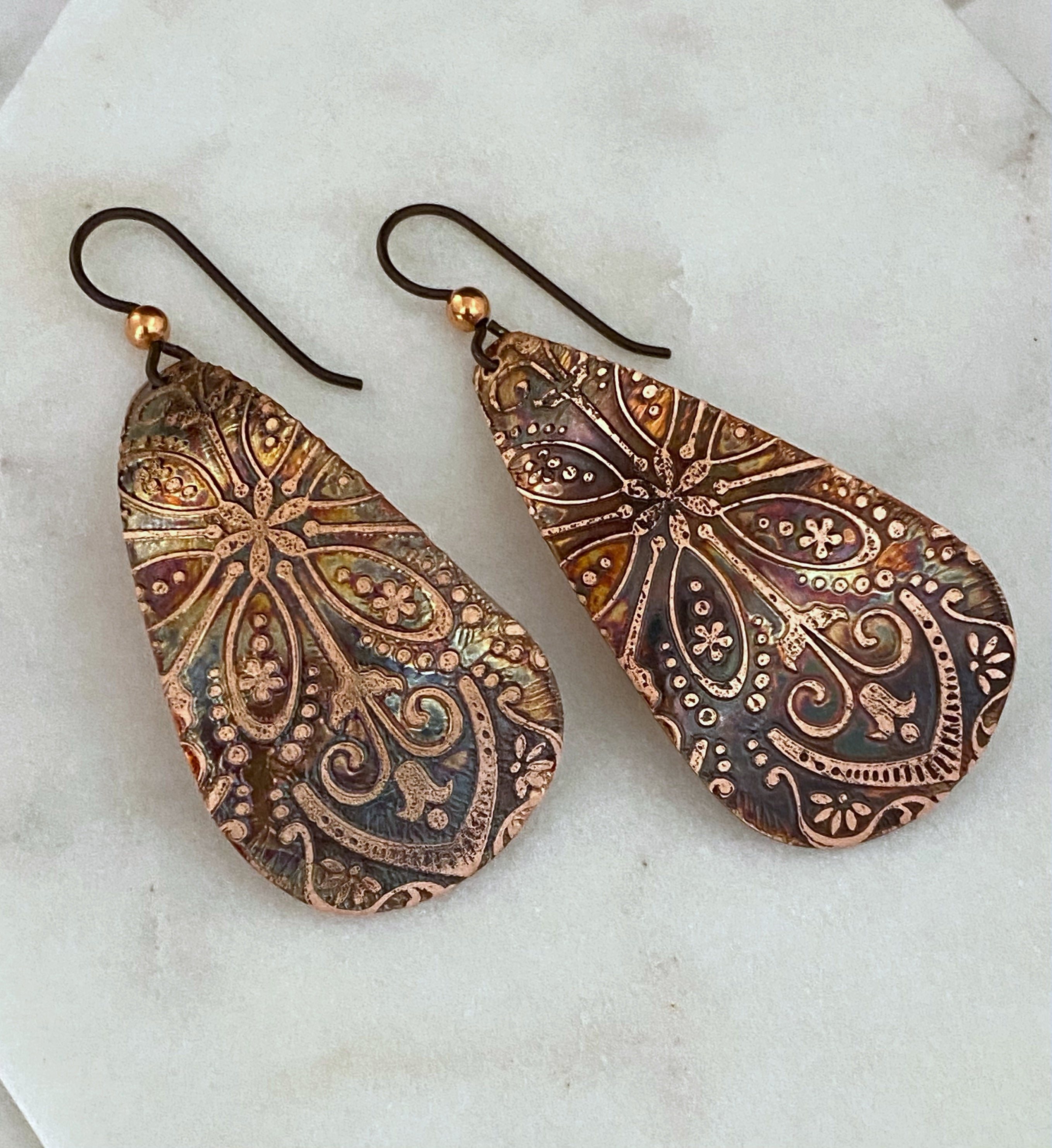 Large teardrop copper earrings