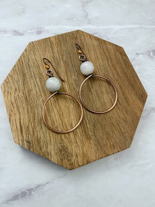 Copper and moonstone hoop earrings