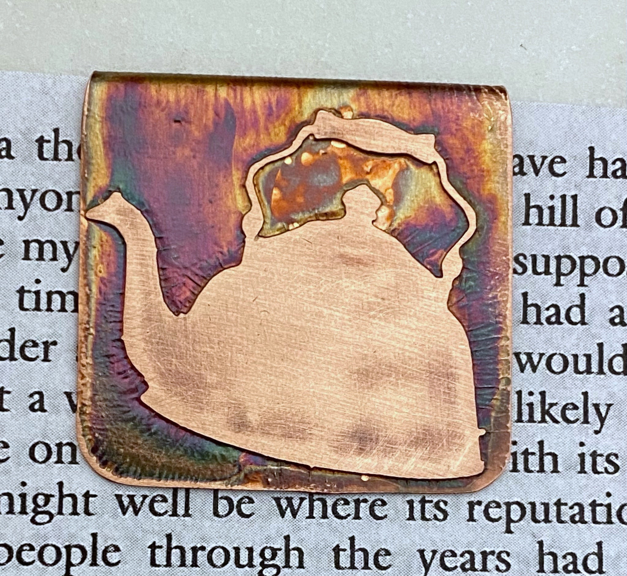 Copper tea kettle bookmark