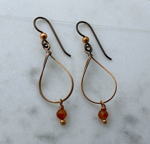 Copper teardrop earrings with carnelian