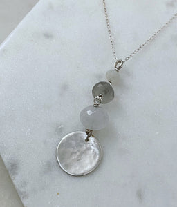 Sterling silver necklace with moonstone and labradorite gemstones