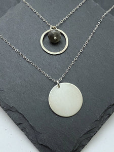 Sterling silver double necklace with labradorite gemstone.