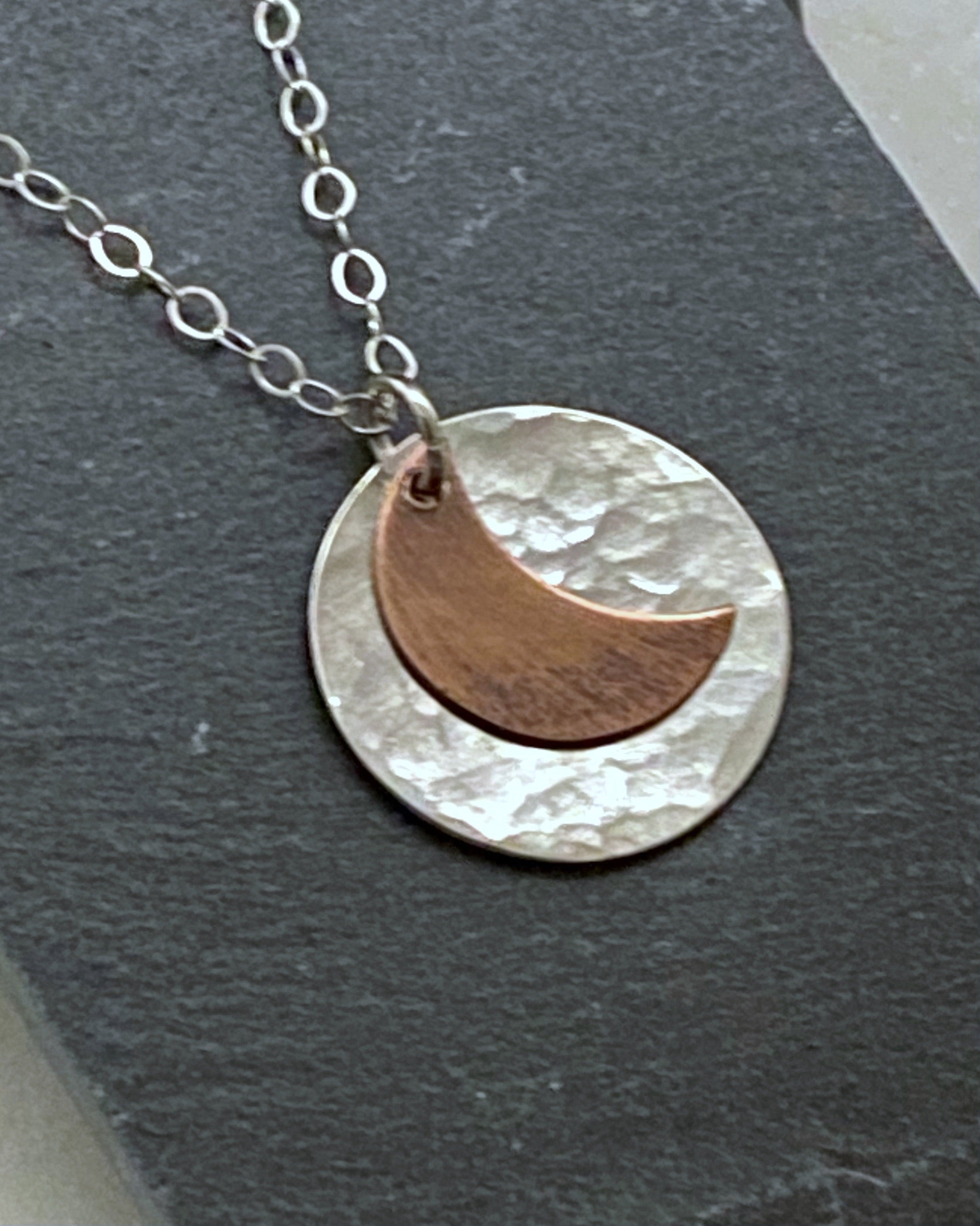 Sterling silver and copper moon necklace