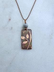 Acid etched copper leaf necklace with moonstone