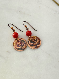 Acid etched copper earrings with coral gemstones