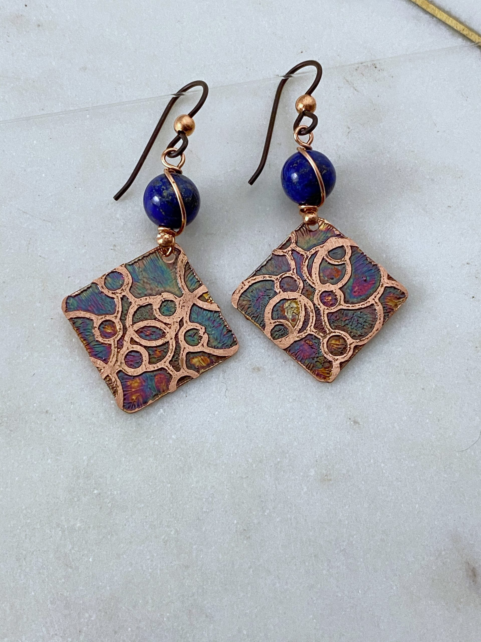 Acid etched copper open dot earrings with lapis