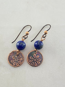 Acid etched copper earrings with lapis gemstones